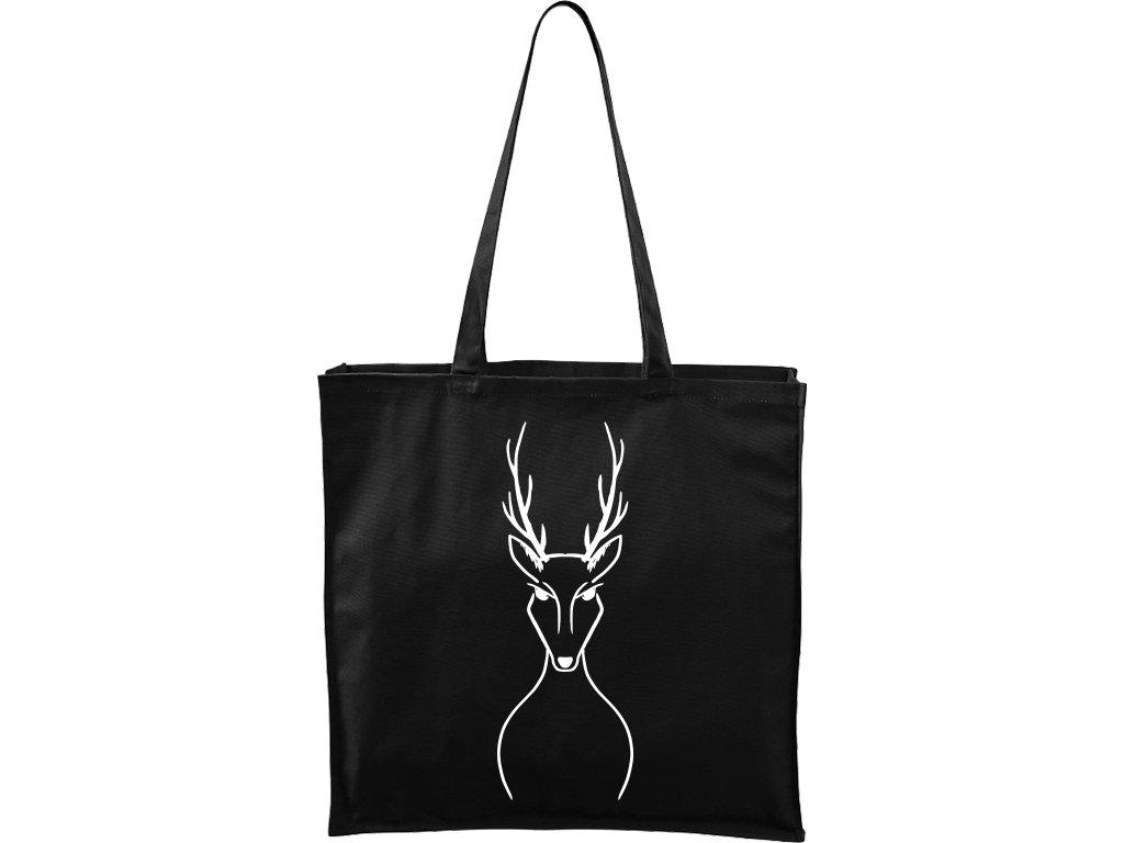 Plátěná taška Carry černá s bílým motivem - Jelen
