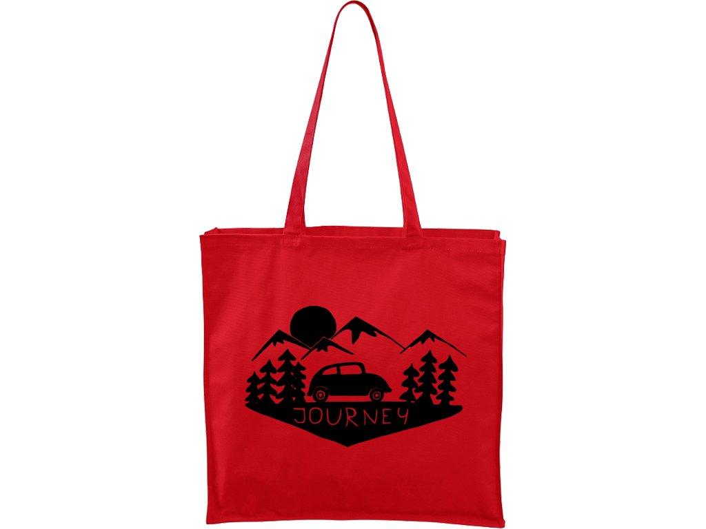 Plátěná taška Carry červená s černým motivem - Journey