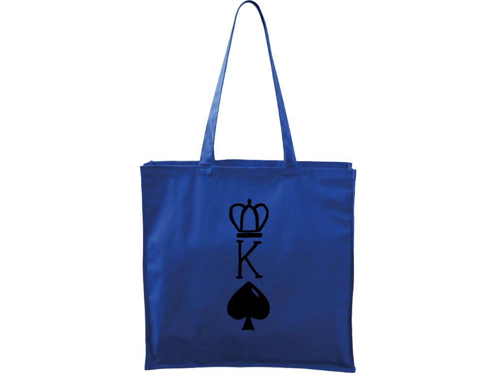 Plátěná taška Carry modrá s černým motivem - King