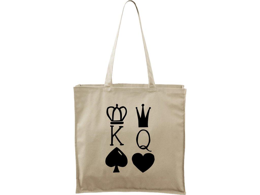 Plátěná taška Carry přírodní s černým motivem - King & Queen
