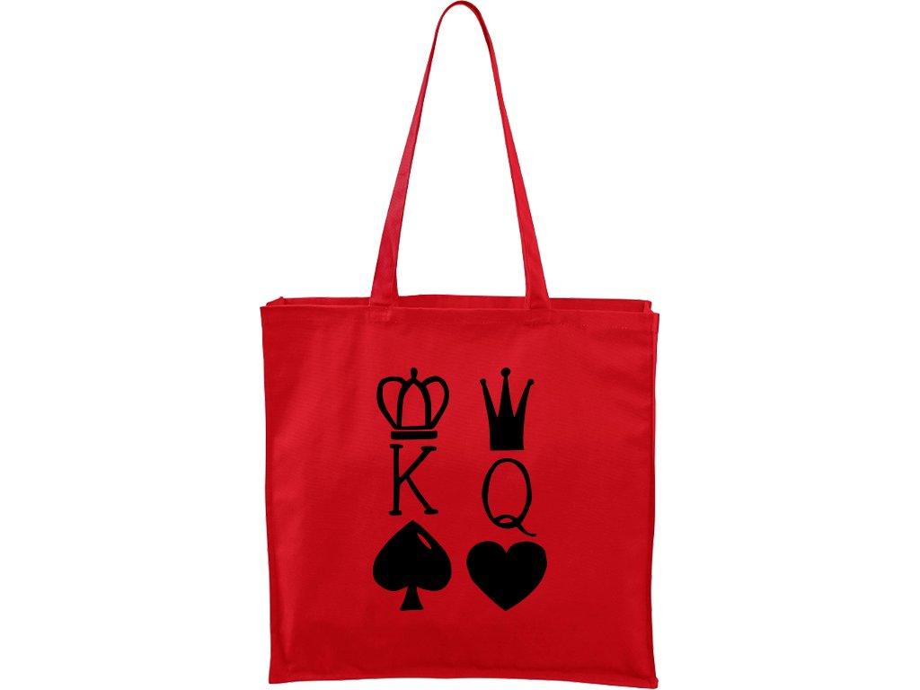 Plátěná taška Carry červená s černým motivem - King & Queen