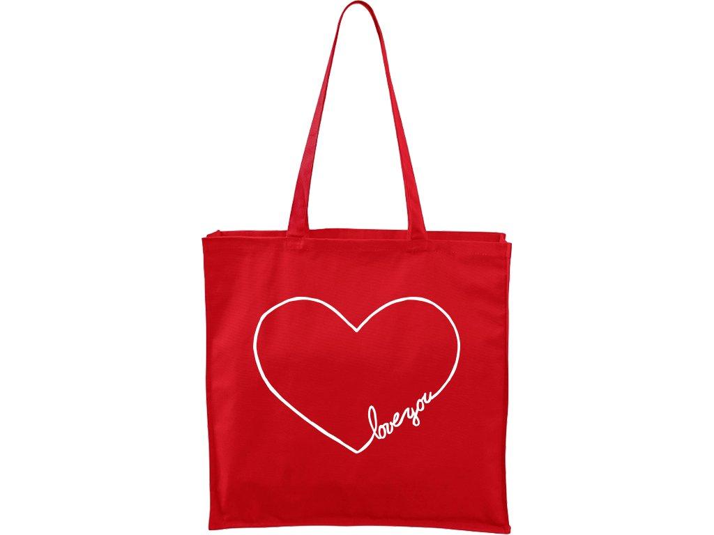 Plátěná taška Carry červená s bílým motivem - Love you Srdce
