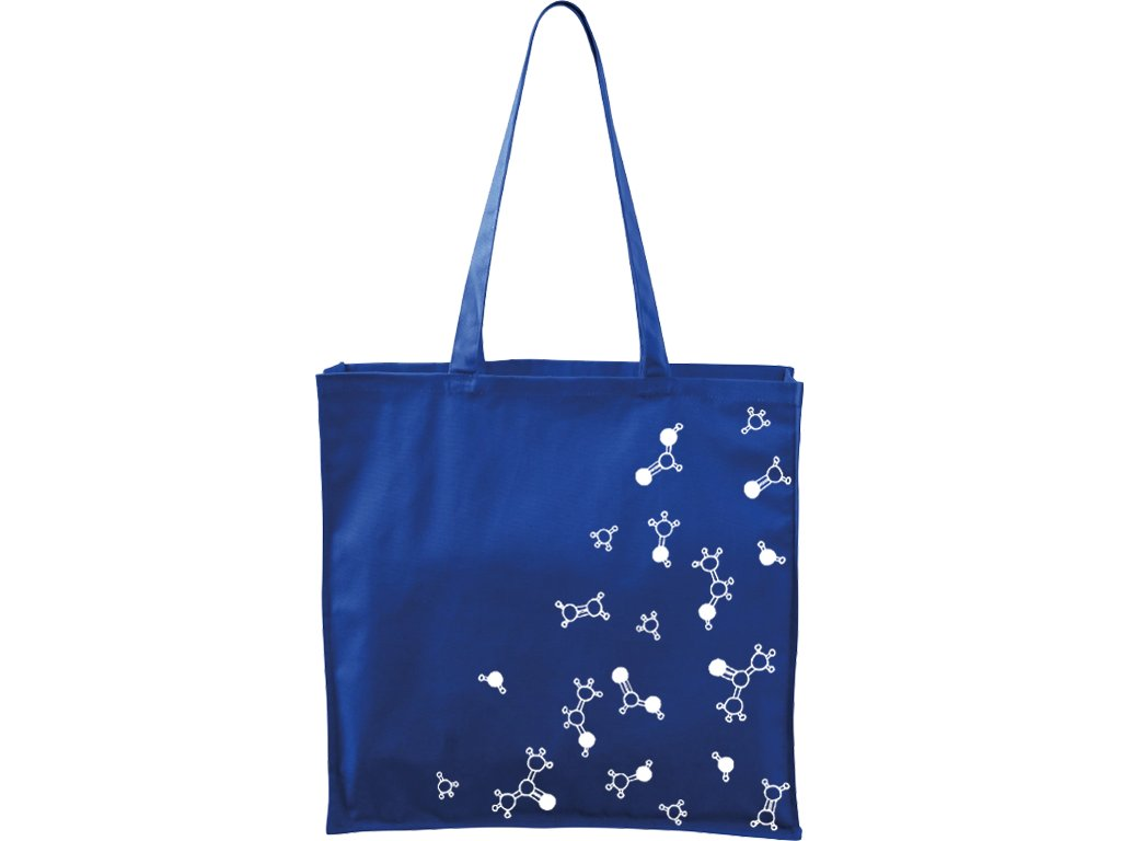 Plátěná taška Carry modrá s bílým motivem - Molekuly