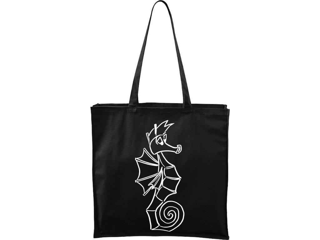 Plátěná taška Carry černá s bílým motivem - Mořský koník