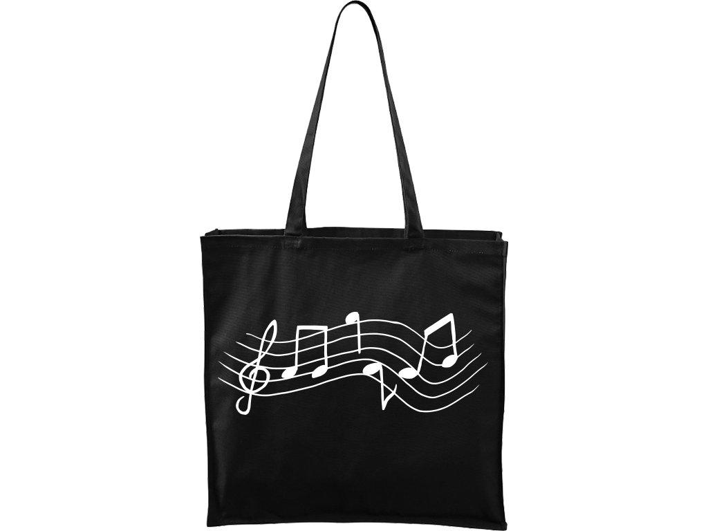 Plátěná taška Carry černá s bílým motivem - Noty rovné