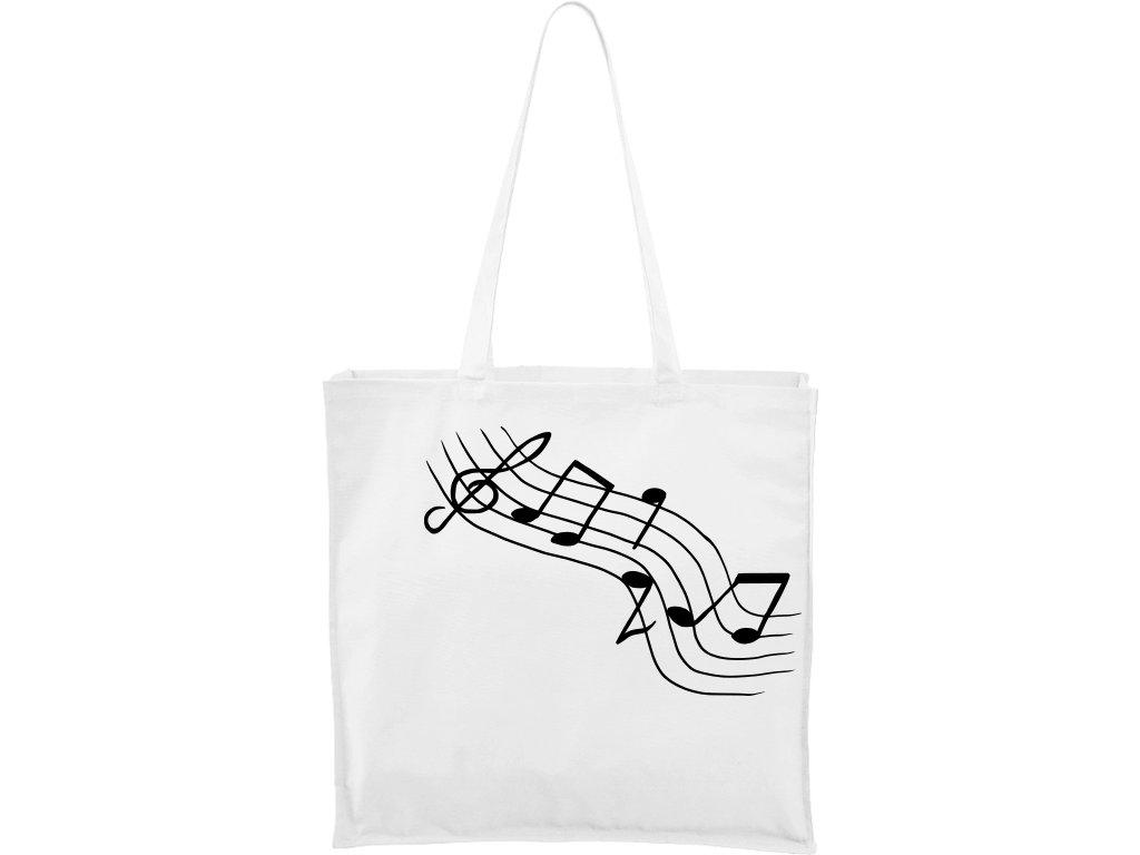 Plátěná taška Carry bílá s černým motivem - Noty šikmé