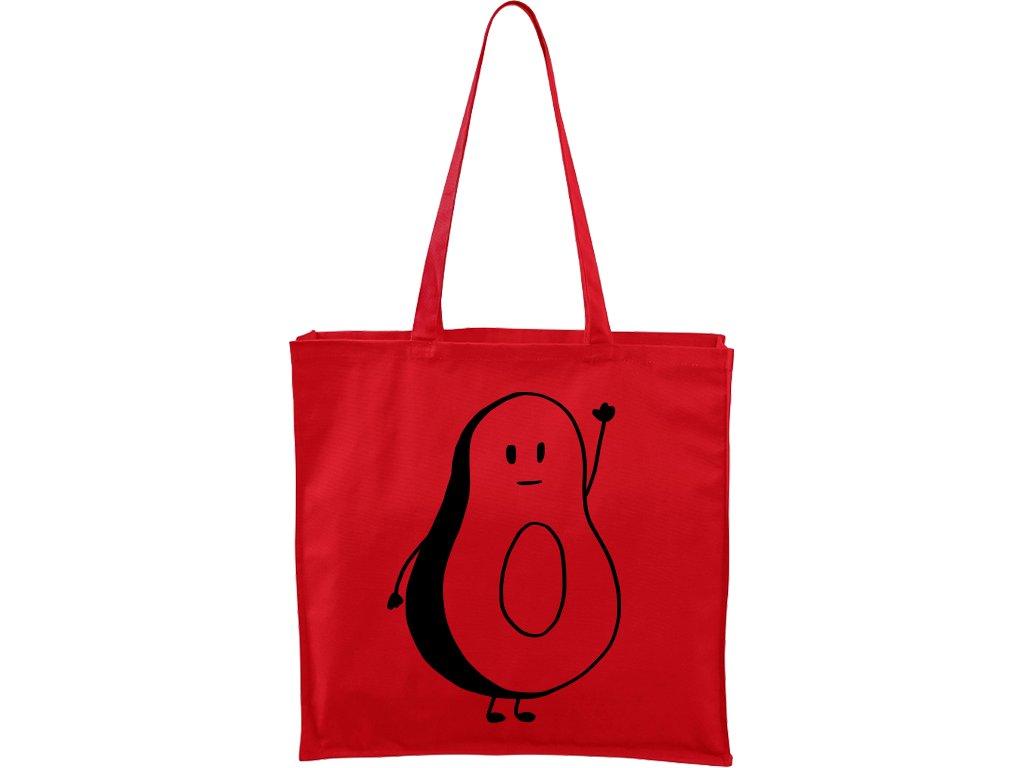 Plátěná taška Carry červená s černým motivem - Pan Avokádo
