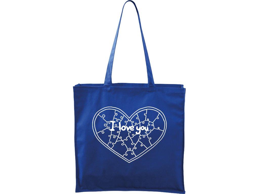 Plátěná taška Carry modrá s bílým motivem - Puzzle Srdce