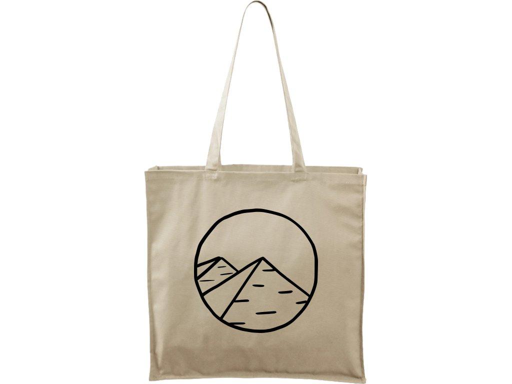 Plátěná taška Carry přírodní s černým motivem - Pyramidy