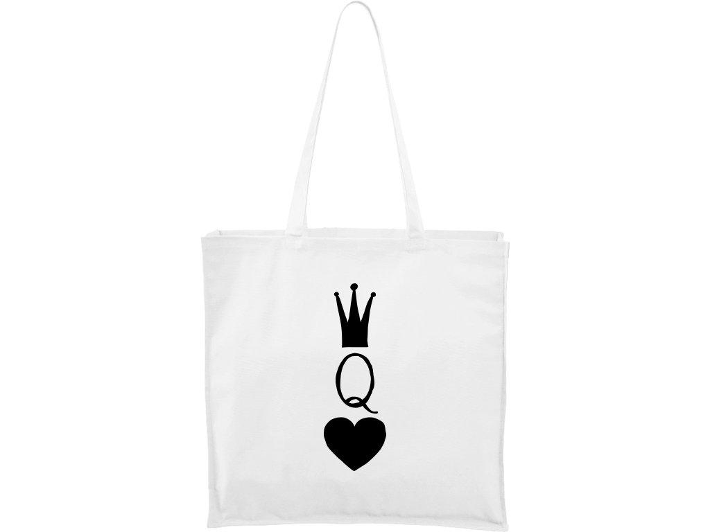 Plátěná taška Carry bílá s černým motivem - Queen