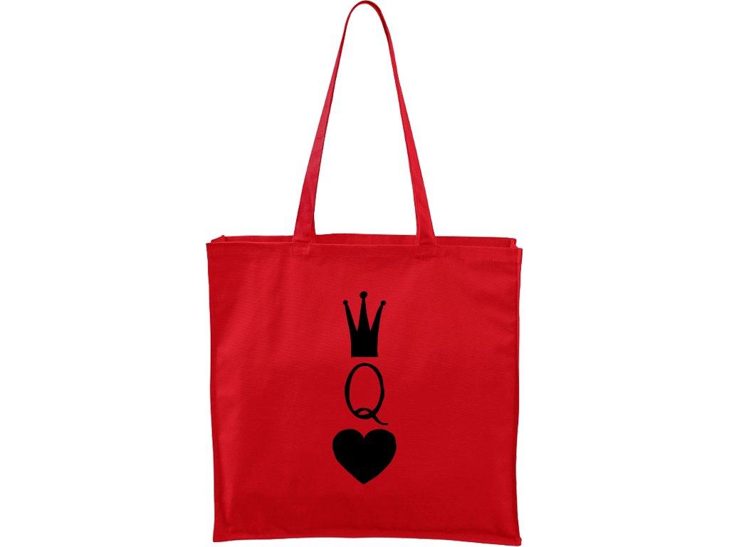 Plátěná taška Carry červená s černým motivem - Queen