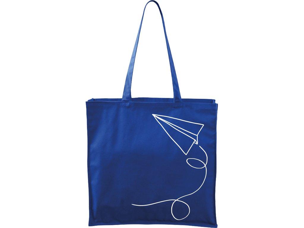 Plátěná taška Carry modrá s bílým motivem - Šipka
