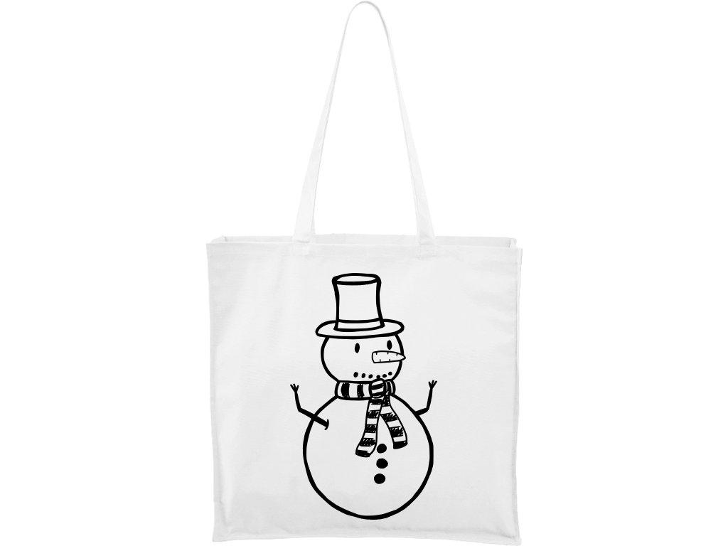 Plátěná taška Carry bílá s černým motivem - Sněhulák
