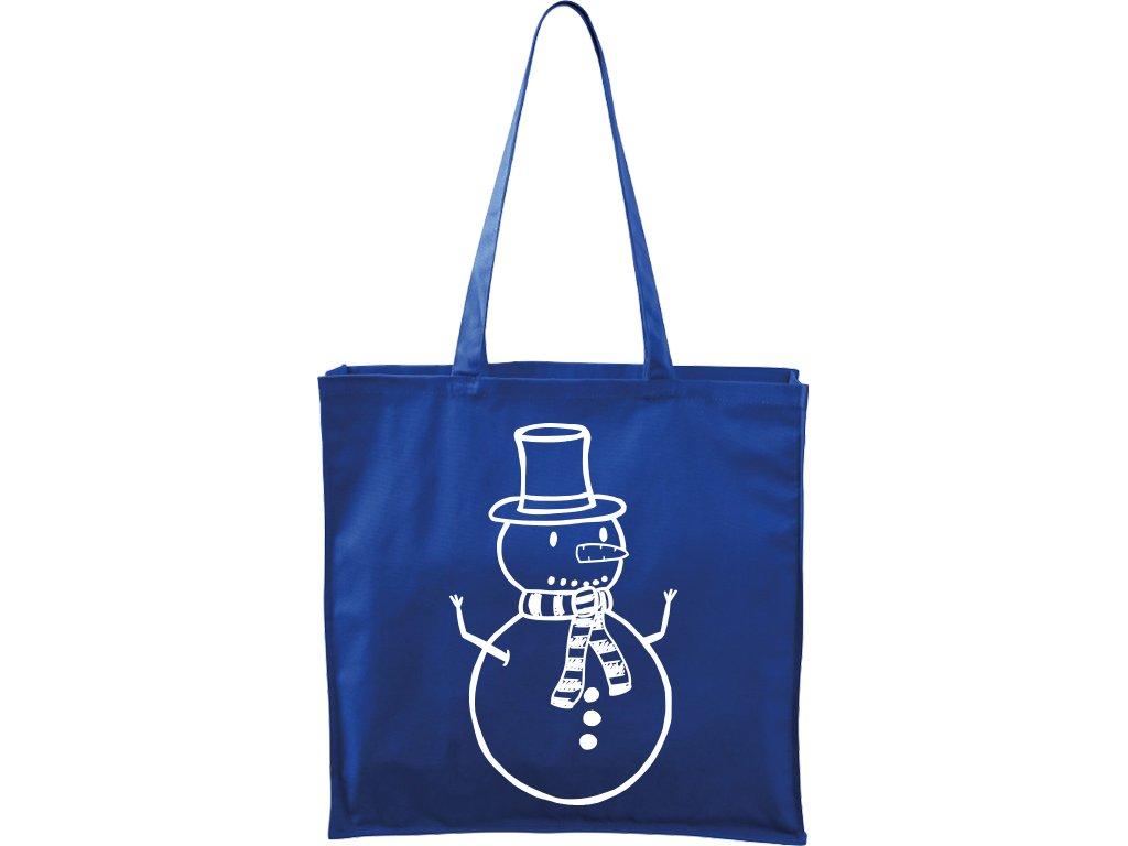 Plátěná taška Carry modrá s bílým motivem - Sněhulák