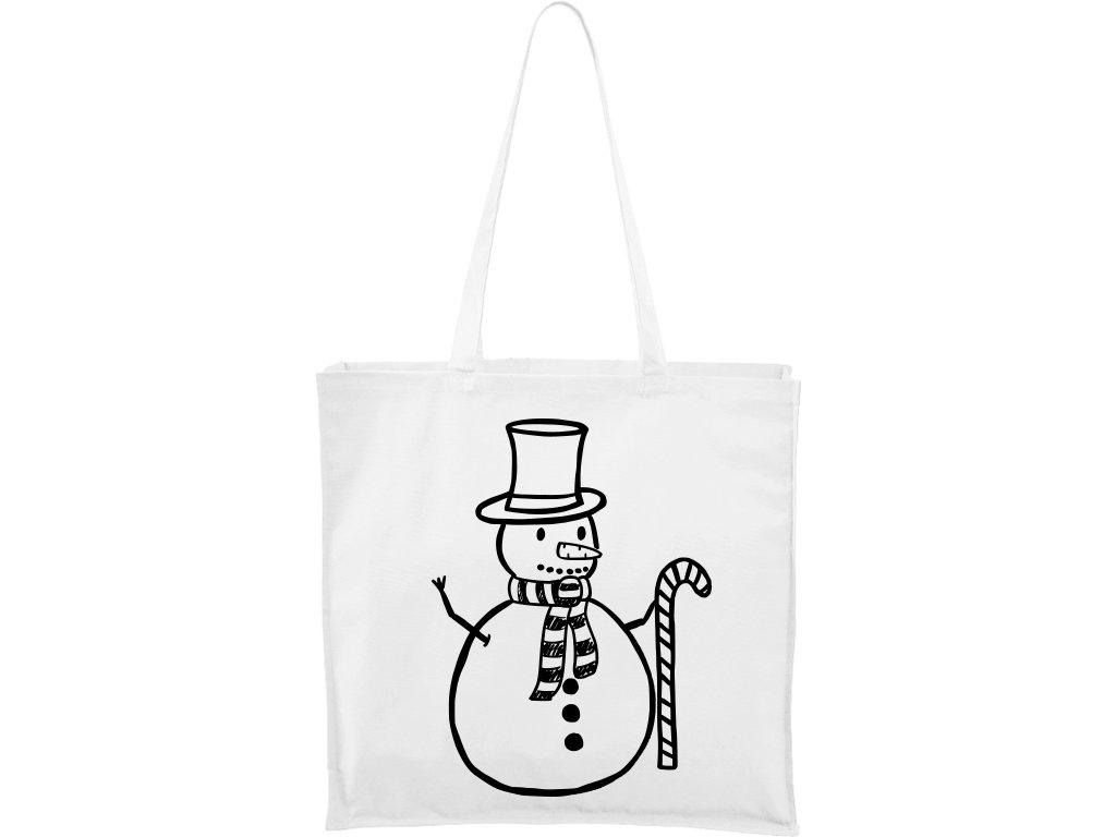 Plátěná taška Carry bílá s černým motivem - Sněhulák s ozdobou