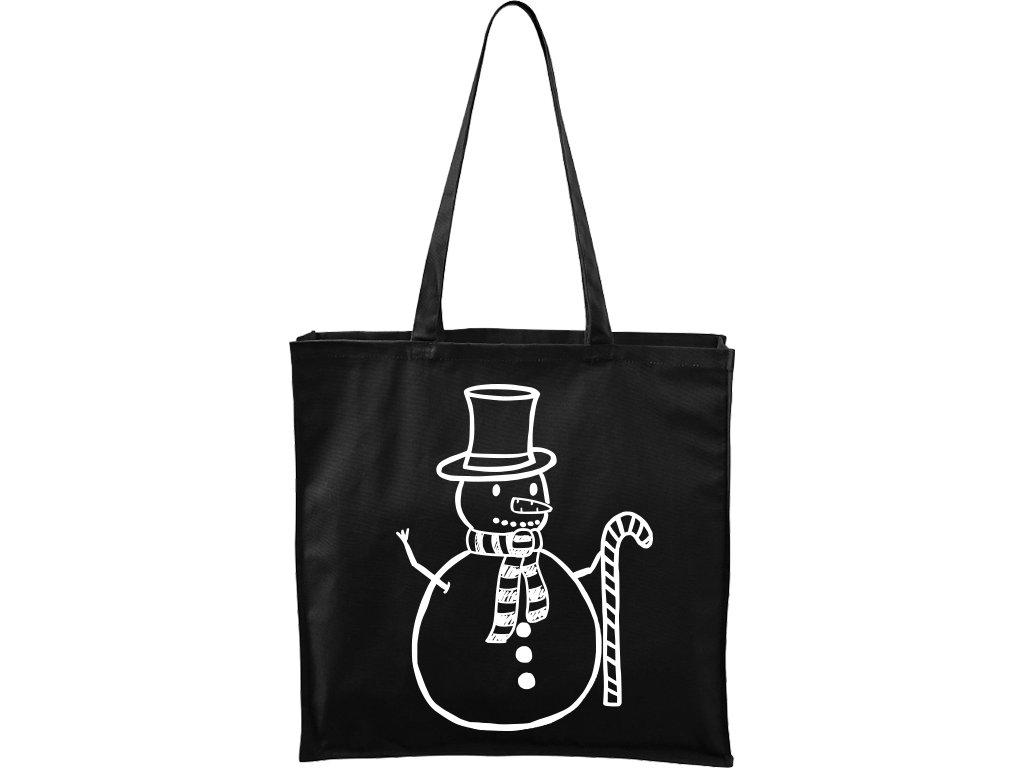 Plátěná taška Carry černá s bílým motivem - Sněhulák s ozdobou