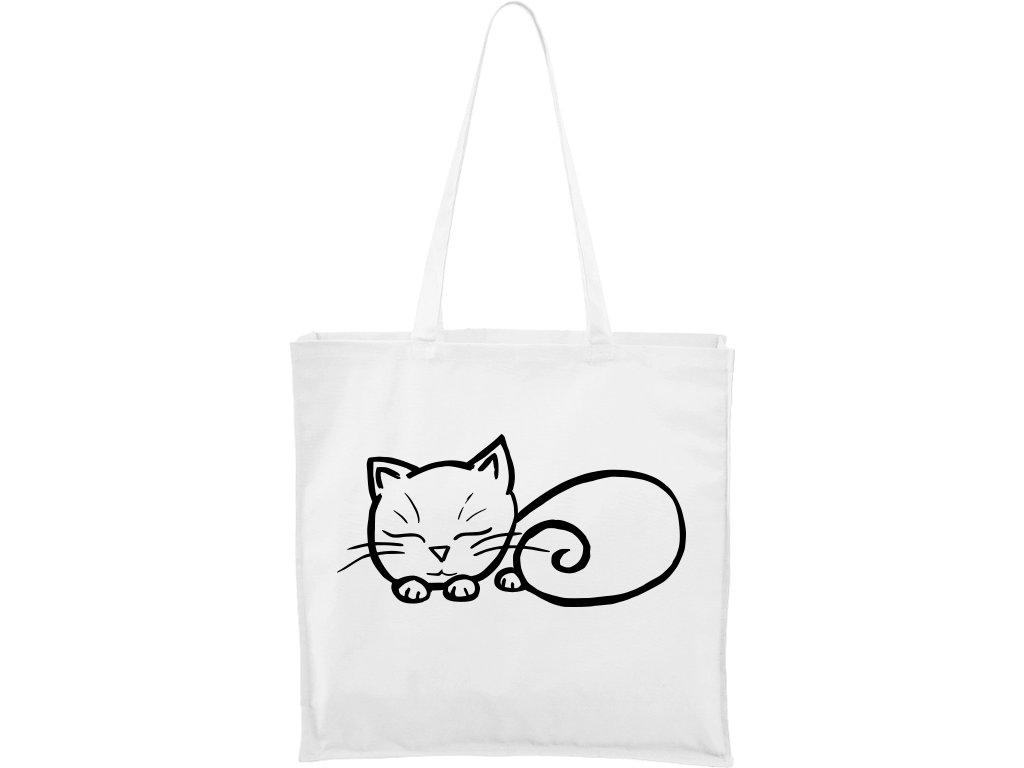 Plátěná taška Carry bílá s černým motivem - Spící kotě