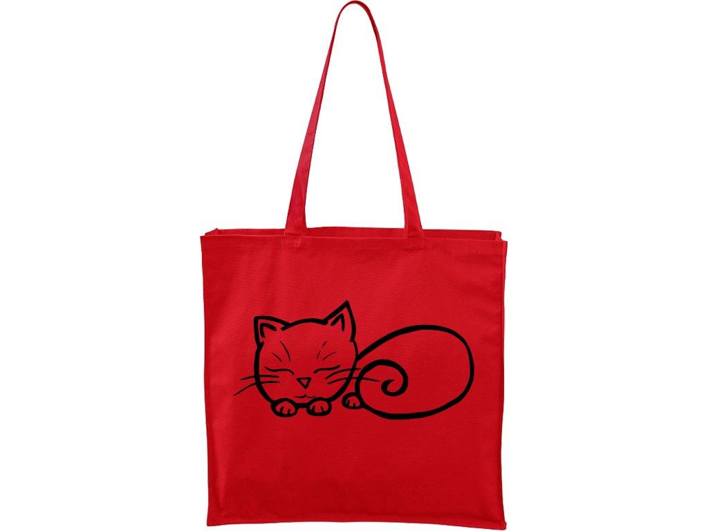 Plátěná taška Carry červená s černým motivem - Spící kotě