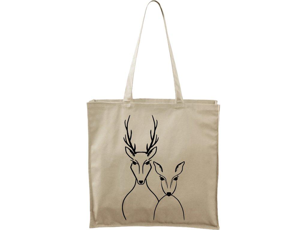 Plátěná taška Carry přírodní s černým motivem - Srnka & Jelen
