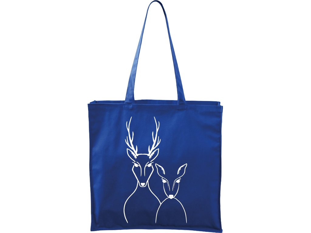 Plátěná taška Carry modrá s bílým motivem - Srnka & Jelen
