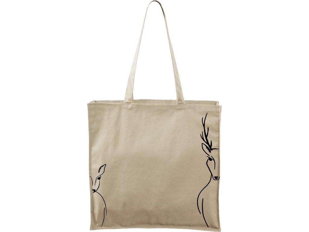 Plátěná taška Carry přírodní s černým motivem - Srnka & Jelen na bocích