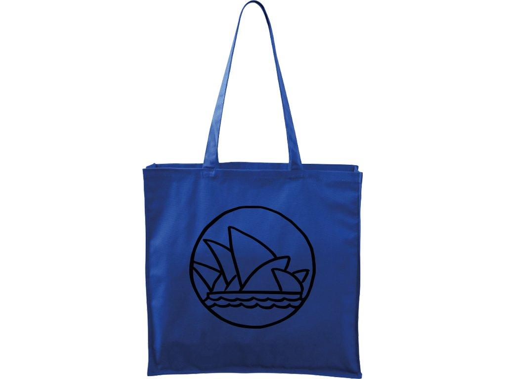 Plátěná taška Carry modrá s černým motivem - Sydney