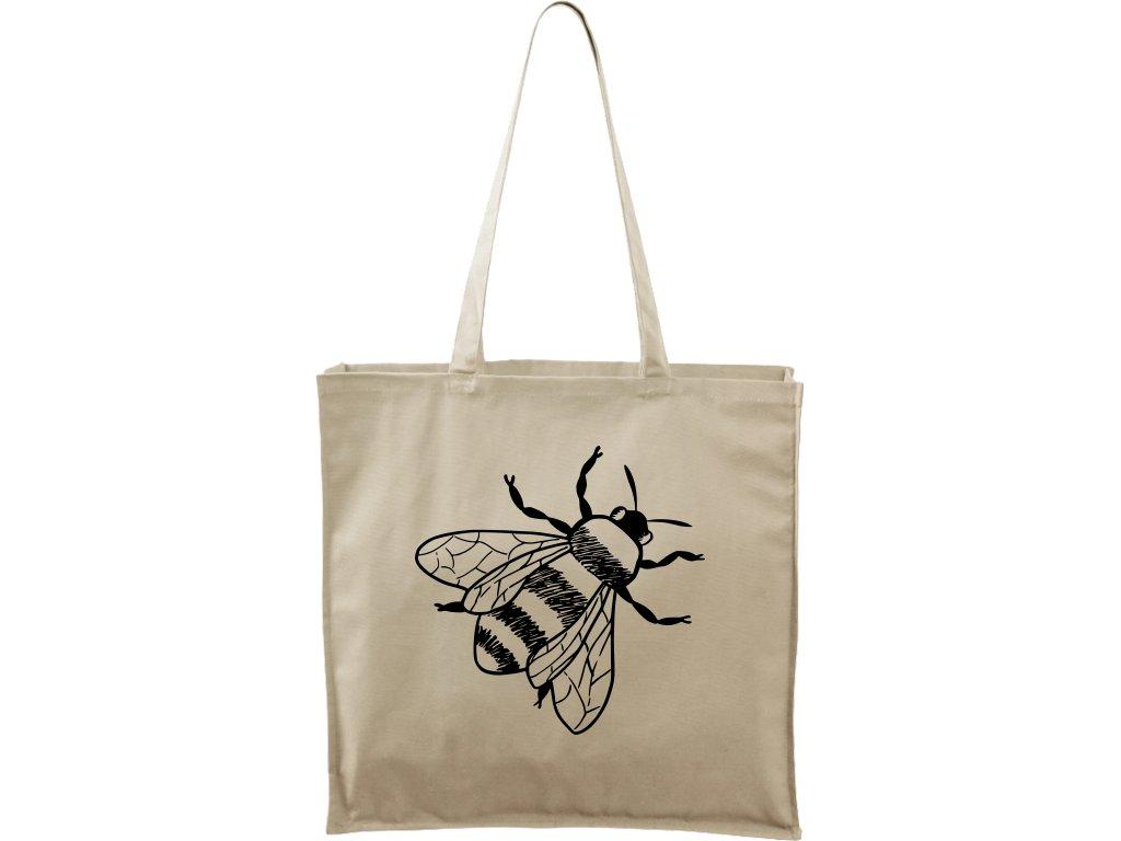 Plátěná taška Carry přírodní s černým motivem - Včela bez pláství