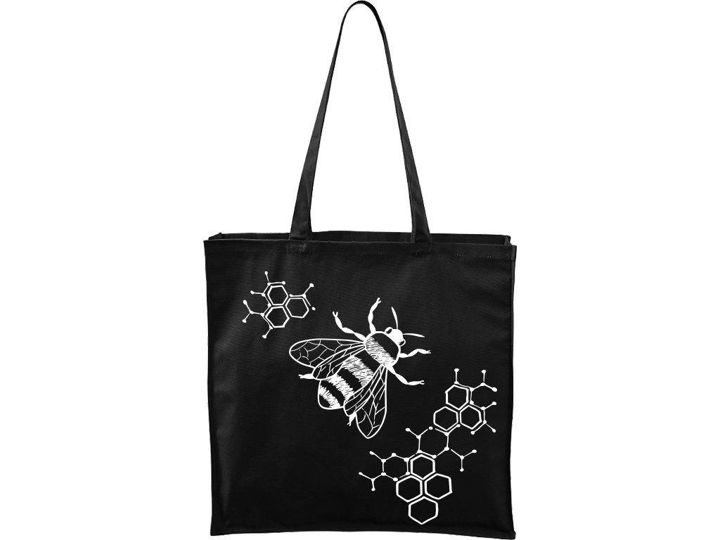 Plátěná taška Carry černá s bílým motivem - Včela s plástvemi