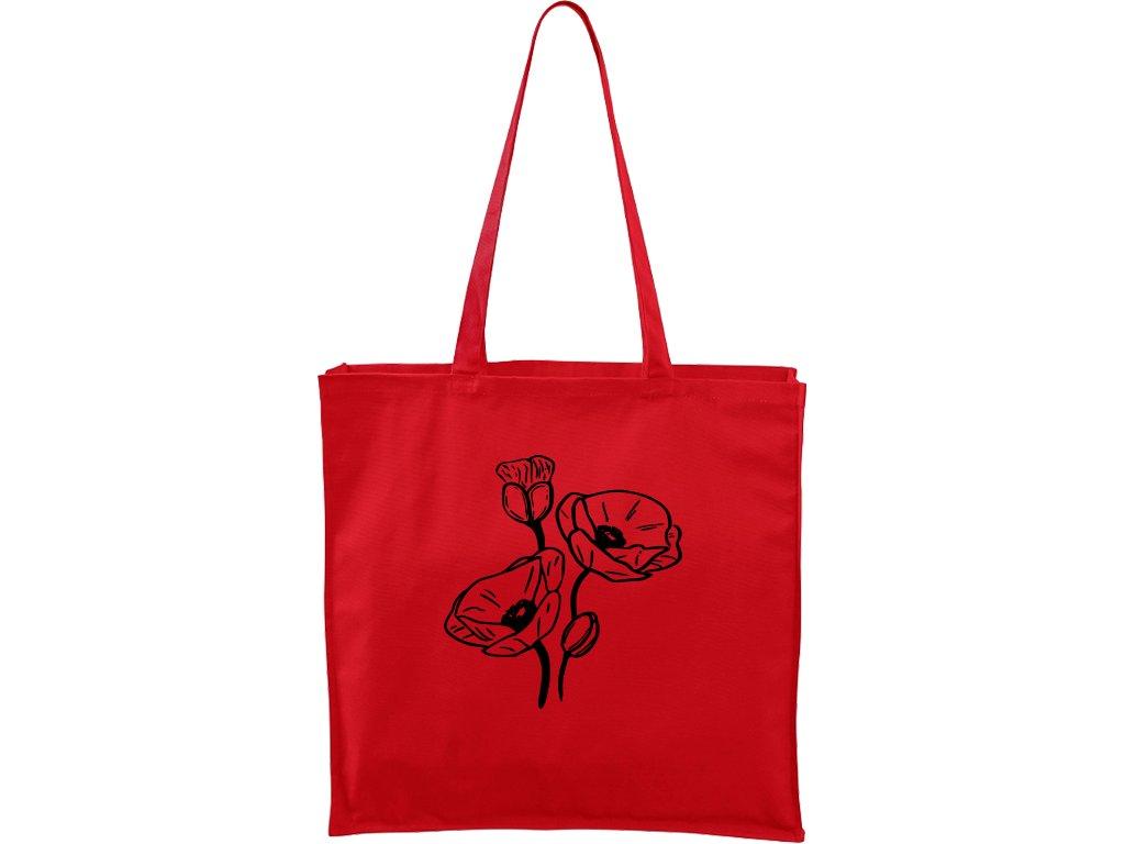 Plátěná taška Carry červená s černým motivem - Vlčí máky