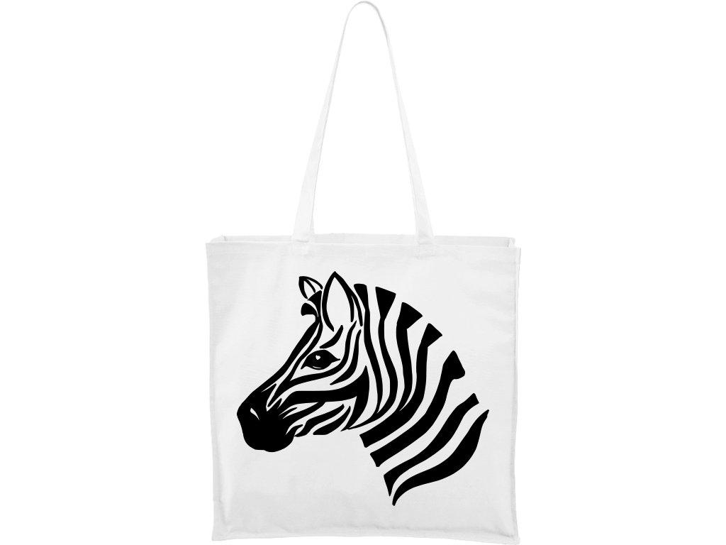 Plátěná taška Carry bílá s černým motivem - Zebra