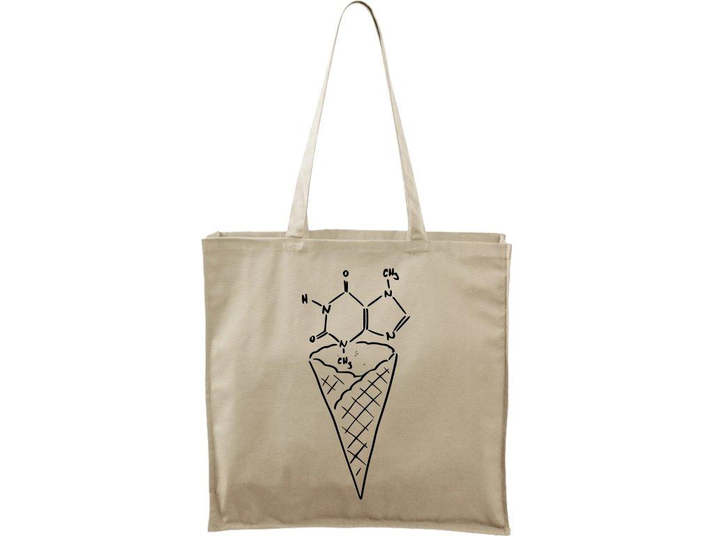 Plátěná taška Carry přírodní s černým motivem - Zmrzlina čokoláda