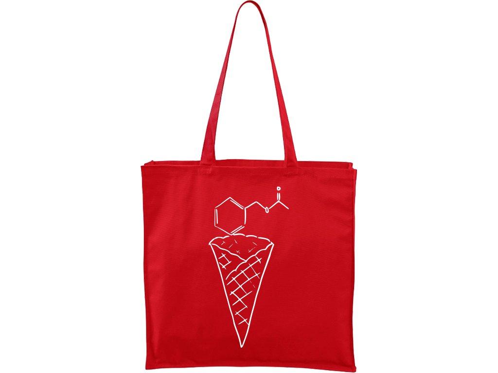 Plátěná taška Carry červená s bílým motivem - Zmrzlina Jahoda