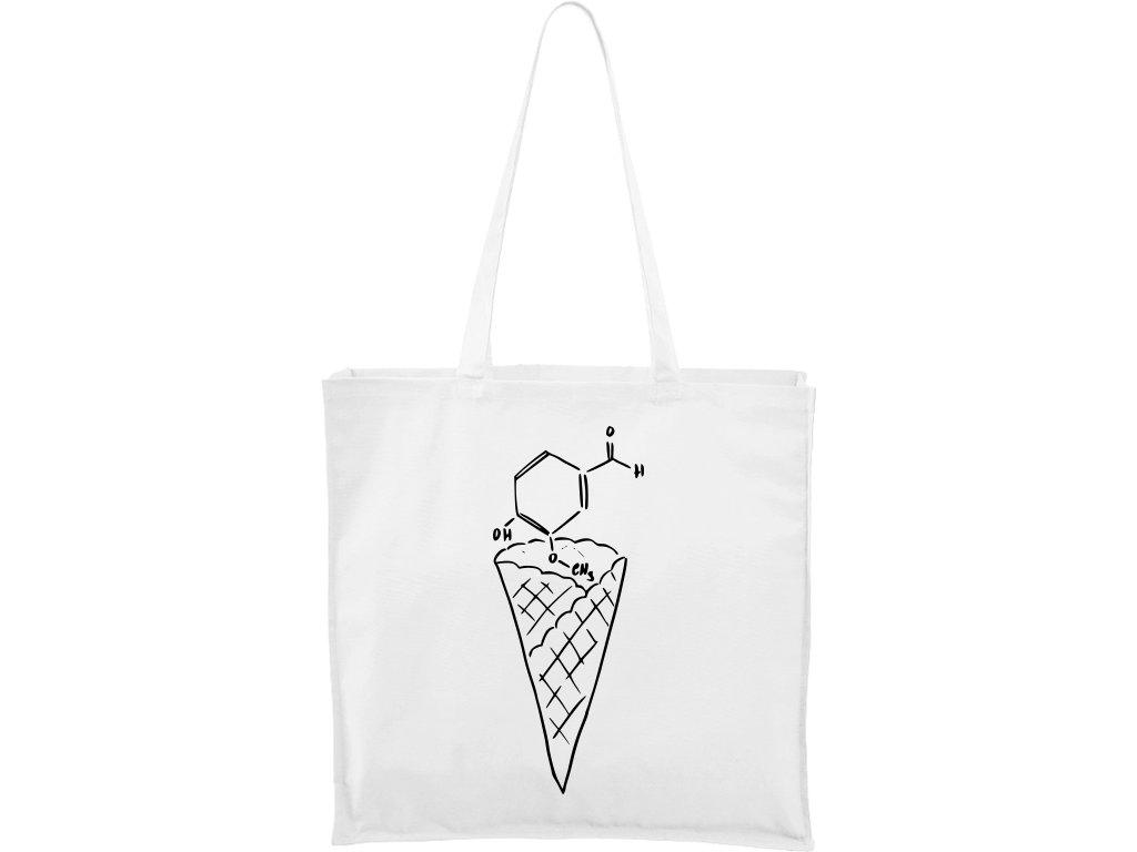 Plátěná taška Carry bílá s černým motivem - Zmrzlina Vanilka