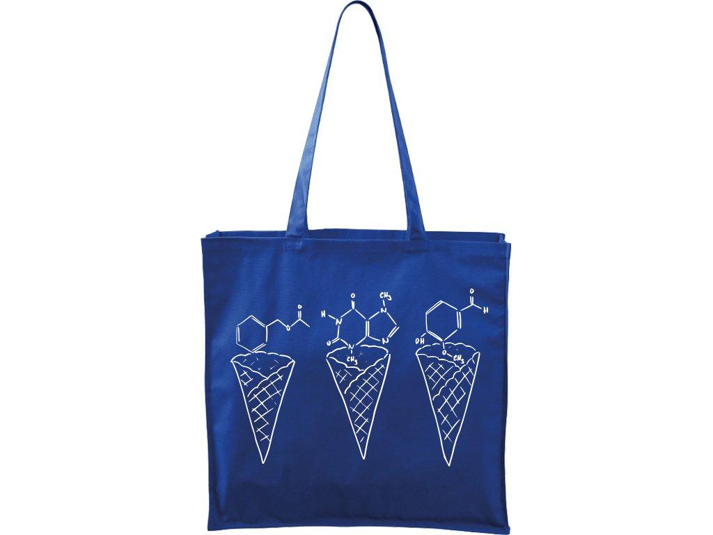 Plátěná taška Carry modrá s bílým motivem - Zmrzliny