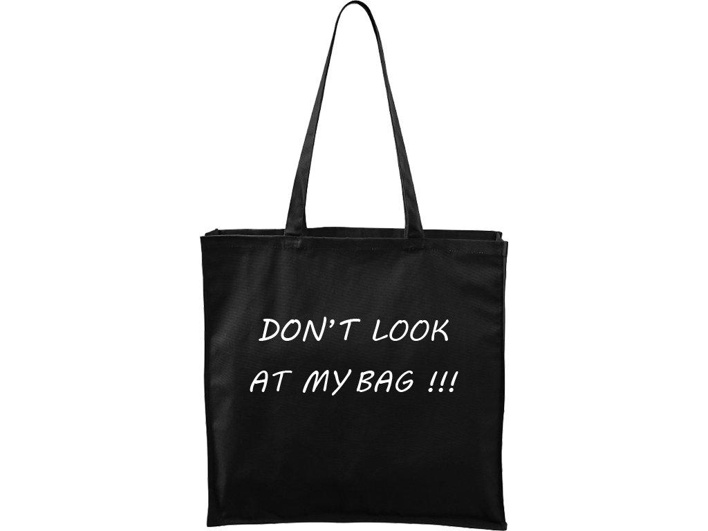 Plátěná taška Carry černá s bílým motivem - Don't look at my bag