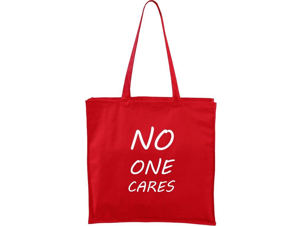 Plátěná taška Carry červená s bílým motivem - No One Cares