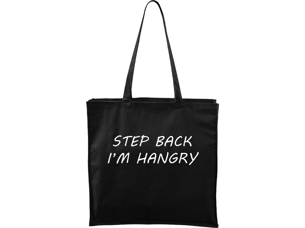 Plátěná taška Carry černá s bílým motivem - Hangry