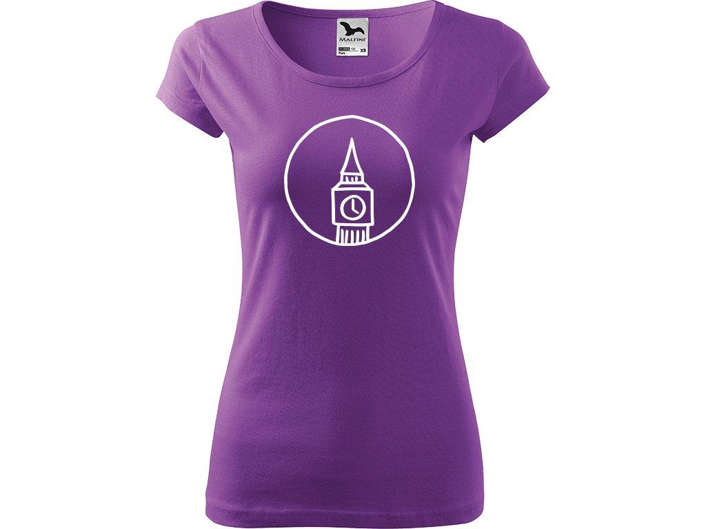 Ručně malované triko fialové s bílým motivem - Big Ben