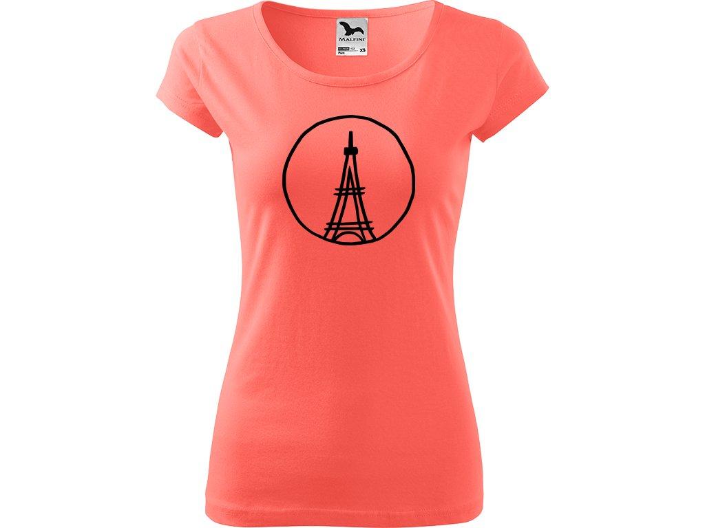 Ručně malované triko korálové s černým motivem - Eiffellova věž