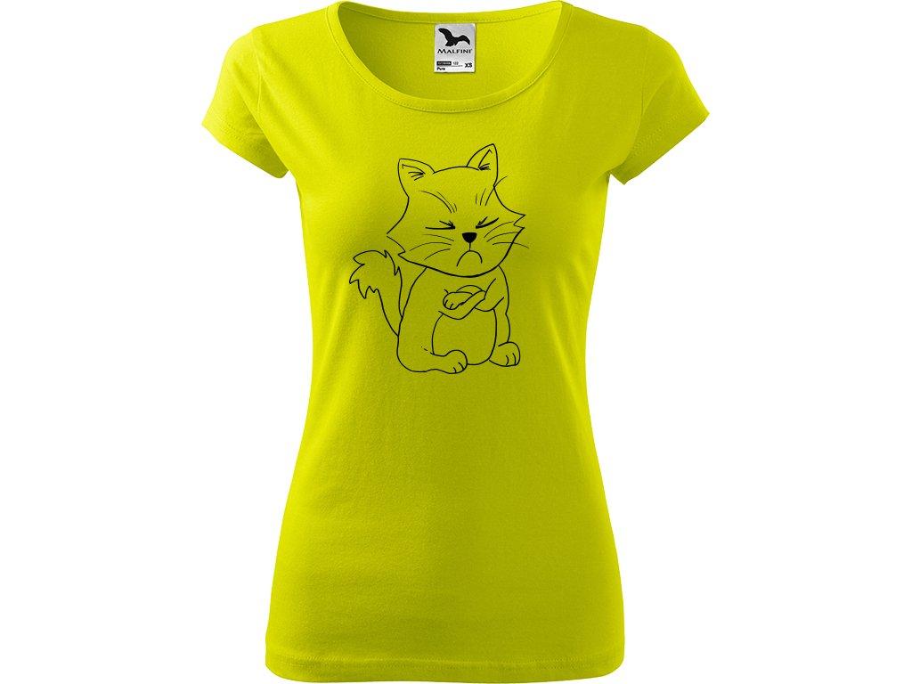 Ručně malované triko limetkové s černým motivem - Grumpy Kitty