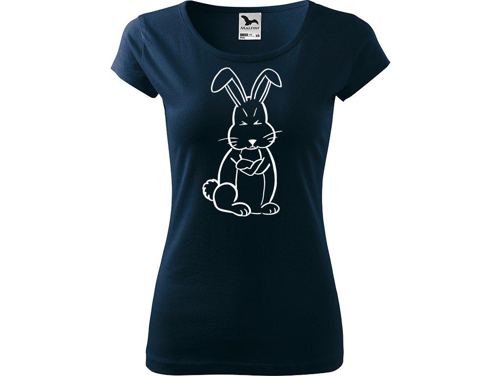 Ručně malované triko námořnické modré s bílým motivem - Grumpy Rabbit
