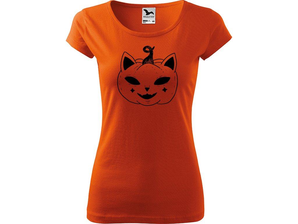 Ručně malované triko oranžové s černým motivem - Halloween kočka