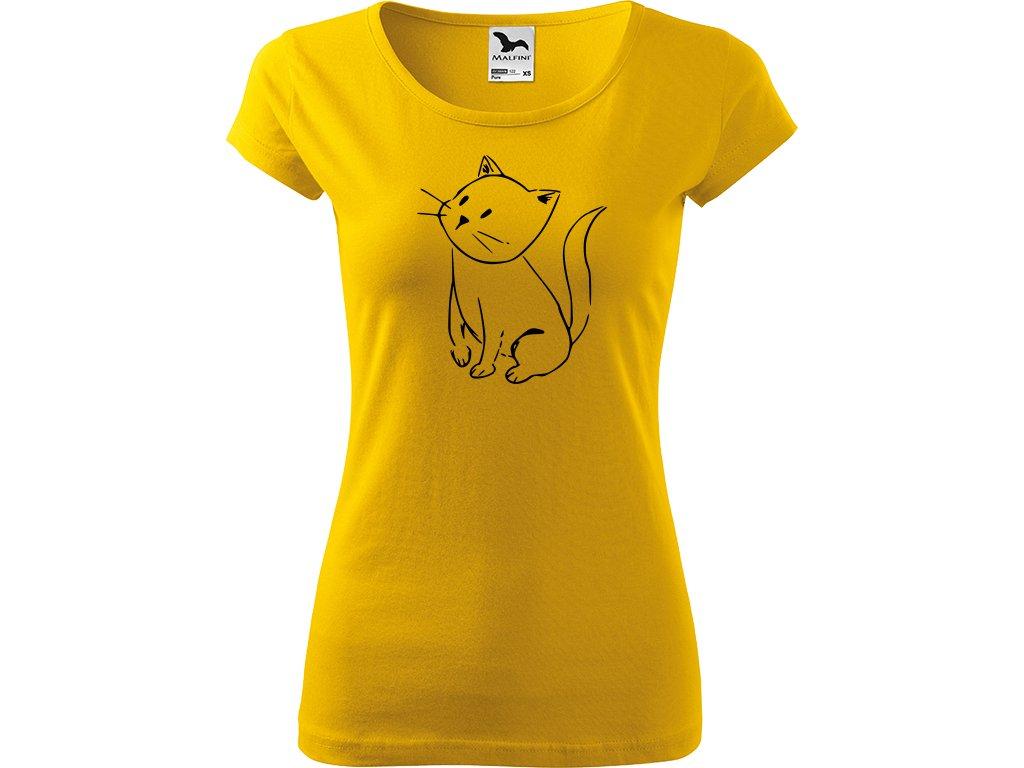 Ručně malované triko žluté s černým motivem - Kotě