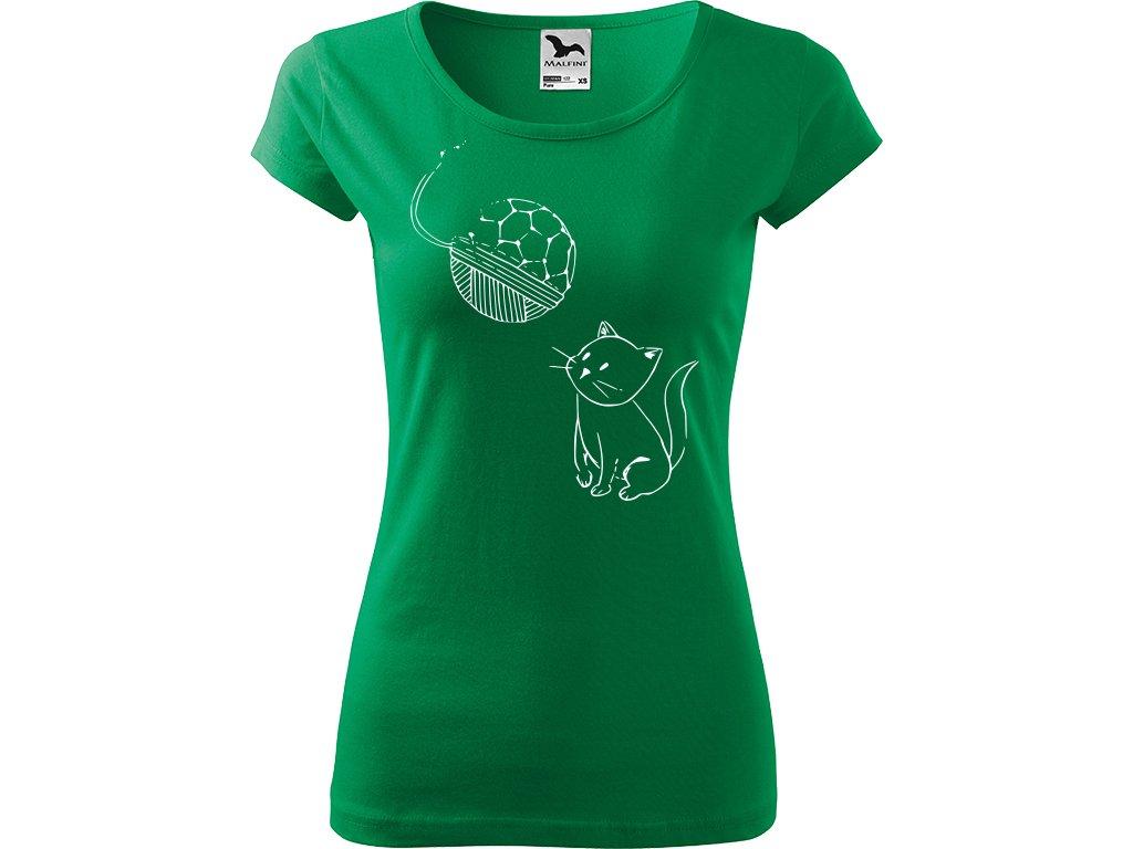 Ručně malované triko středně zelené s bílým motivem - Kotě s Fullerenem