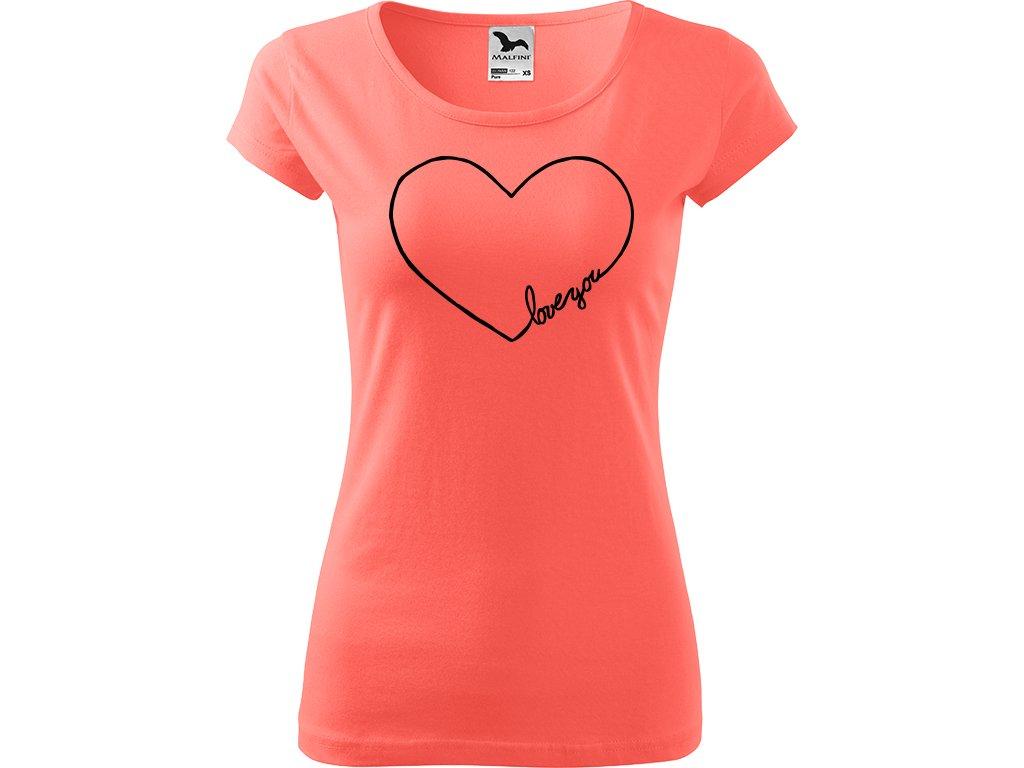 """Ručně malované triko korálové s černým motivem - """"Love you"""" Srdce"""