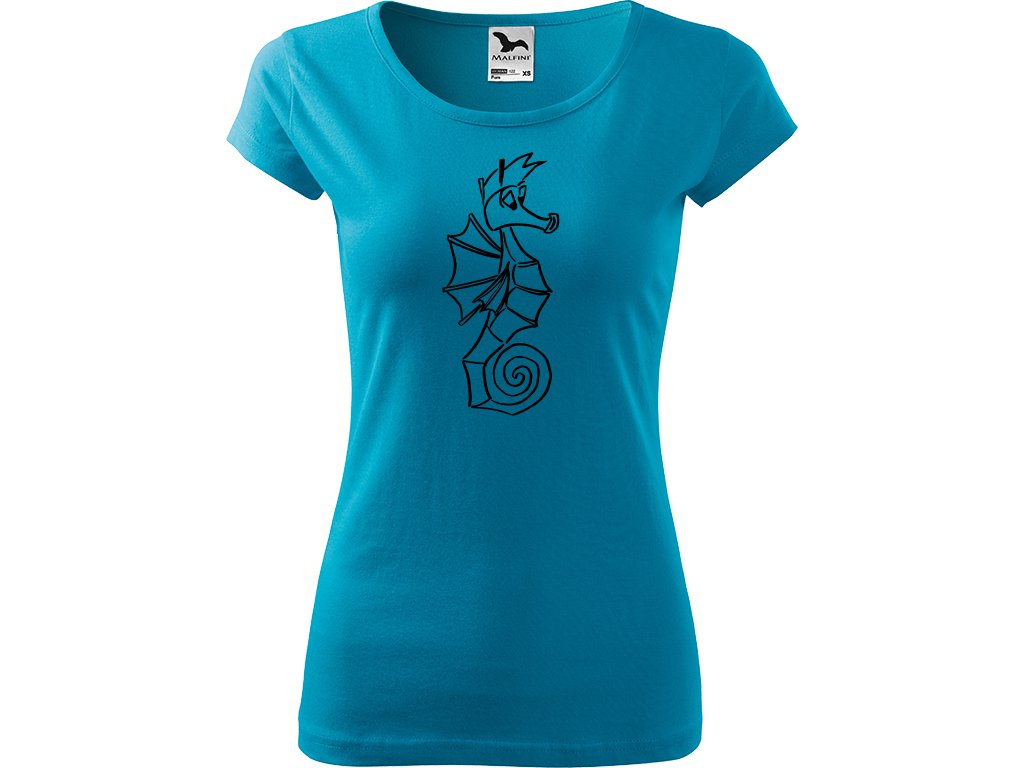 Ručně malované triko tyrkysové s černým motivem - Mořský koník
