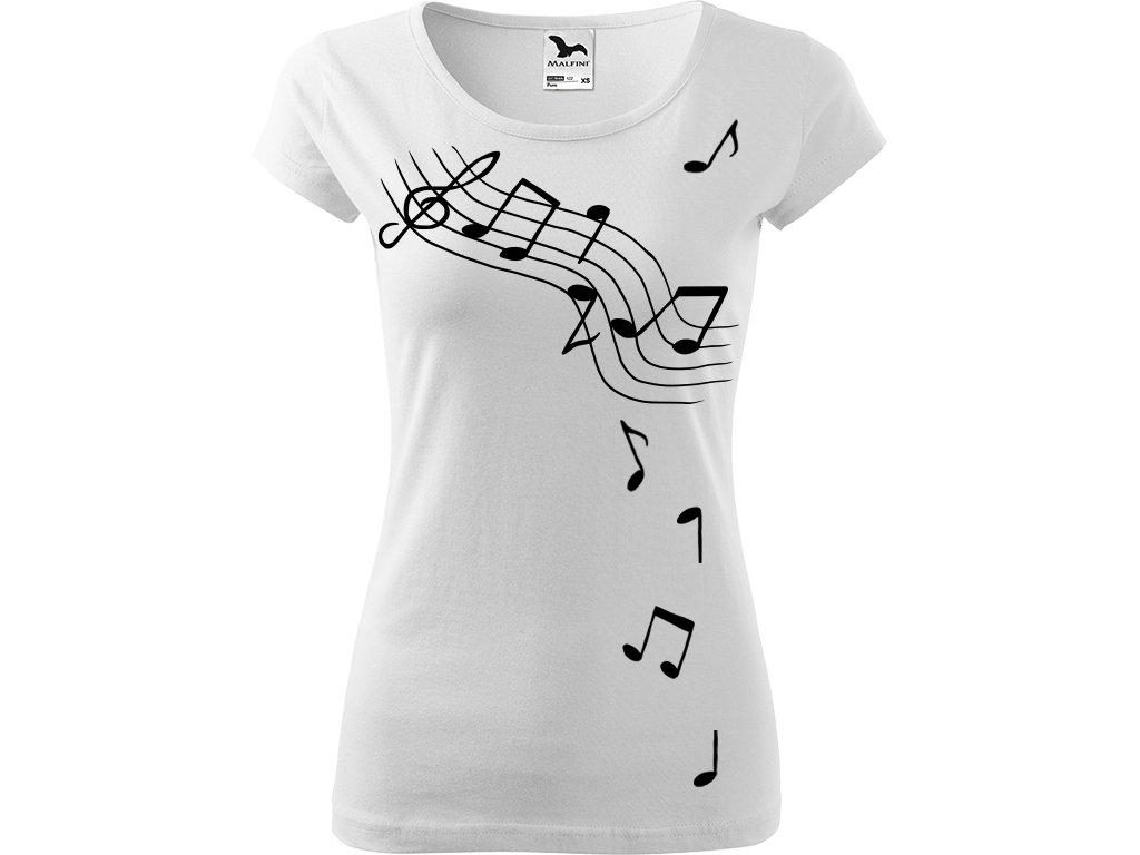 Ručně malované triko bílé s černým motivem - Noty