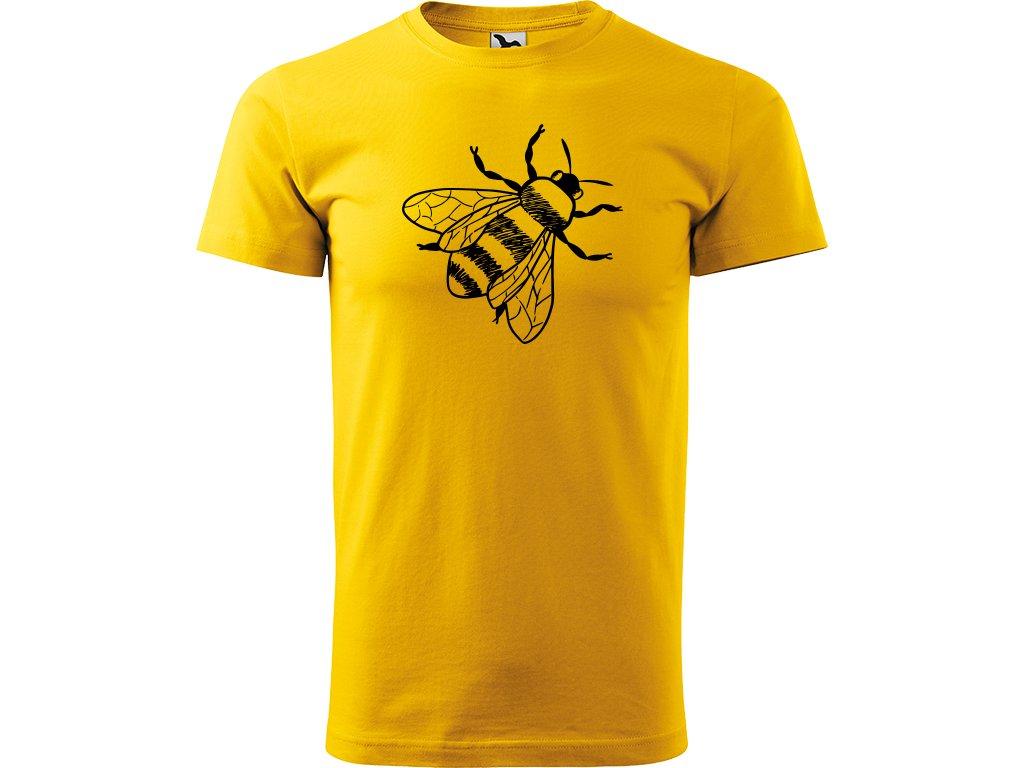Ručně malované triko  s černým motivem - Včela