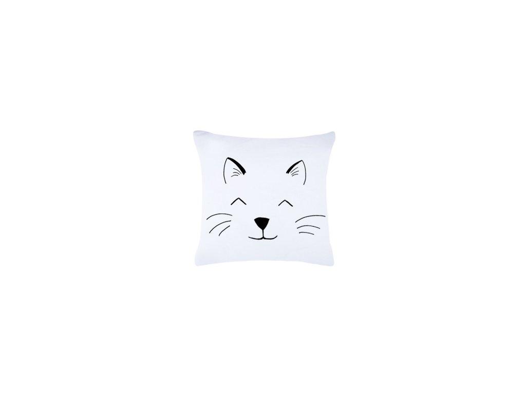 Roni Syvin polštář cat face bílá