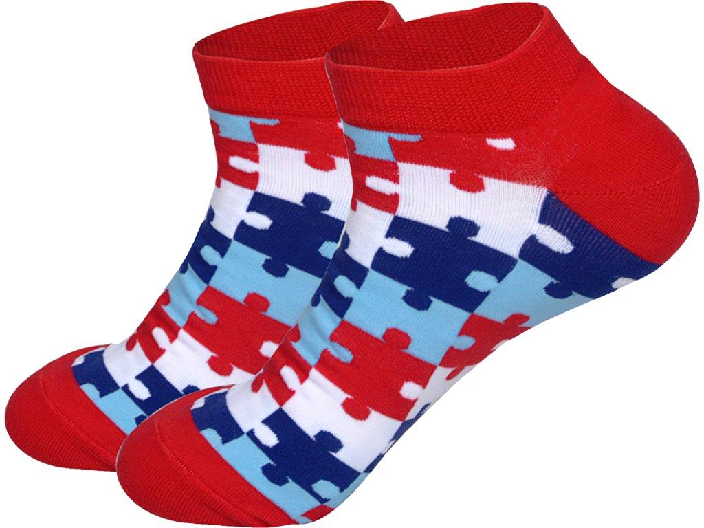 roni syvin ponozky kotnikove puzzle cervene 1